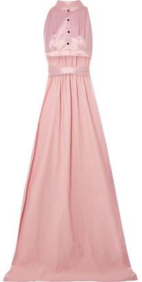 Cropped Cotton-blend Satin Wrap Top - Pastel pink