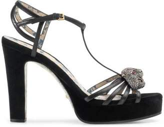 Gucci Leather t-strap sandal with crystal feline head