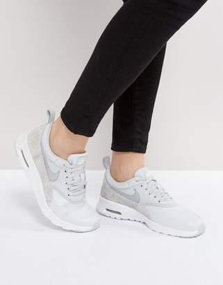Nike Thea Premium Sneakers In Grey Faux Snake