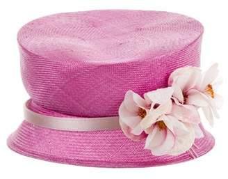 Philip Treacy Raffia Floral-Accented Hat