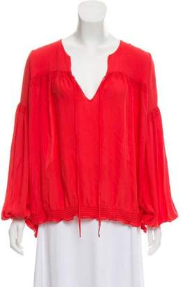 Haute Hippie Silk Long Sleeve Top