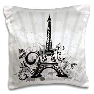 3dRose Black and Steel Blue Eiffel Tower With Flourishes and Butterflies - Pillow Case, 16 by 16-inch