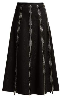 Christopher Kane Zip Panelled Crystal And Lace Midi Skirt - Womens - Black