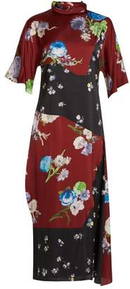 Acne Studios Dilona Floral Print Satin Dress - Womens - Burgundy Multi