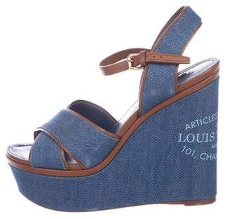 Louis Vuitton Denim Platform Wedges