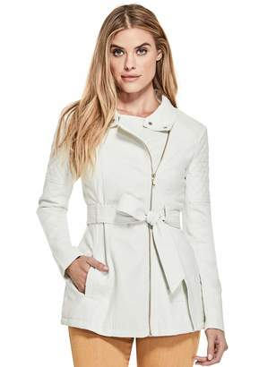 Factory Guess Women's Hollie Quilted Faux-Leather Trench Coat