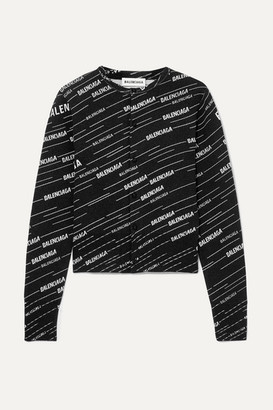 Balenciaga Intarsia Wool-blend Cardigan - Black