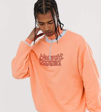 Heart N Dagger half zip sweatshirt with chest logo in orange