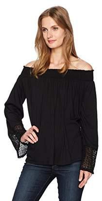 Three Dots Women's Trellis Lace Peasant Top