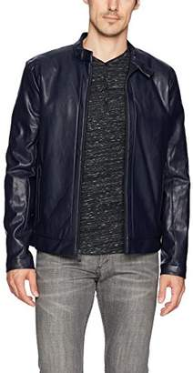 Calvin Klein Men's Faux Leather Perforated Moto Jacket