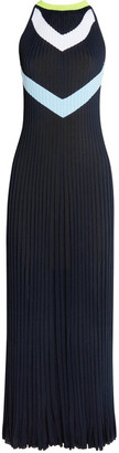 Versace - Intarsia Ribbed-knit Midi Dress - Navy $1,750 thestylecure.com