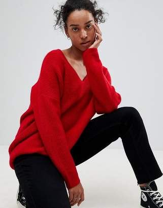 Asos DESIGN Chunky Sweater In Oversized With V Neck