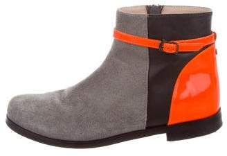 Christian Dior Girls' Suede Colorblock Booties