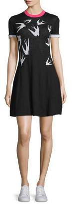 McQ Alexander McQueen Short-Sleeve Jacquard Skater Dress, Black/White $365 thestylecure.com