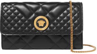 Versace Quilted Leather Shoulder Bag - Black