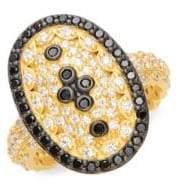 Freida Rothman Pavé Clover Shield Ring