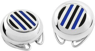 Forzieri Striped Silver Plated Button Covers