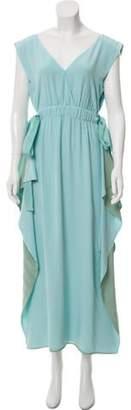 Fendi Silk Maxi Dress Aqua Silk Maxi Dress