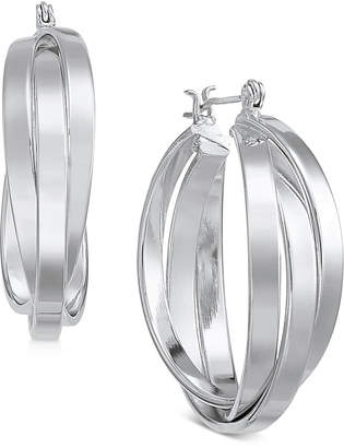 Essentials Silver Plated Small Multi-Ring Interlocked Hoop Earrings