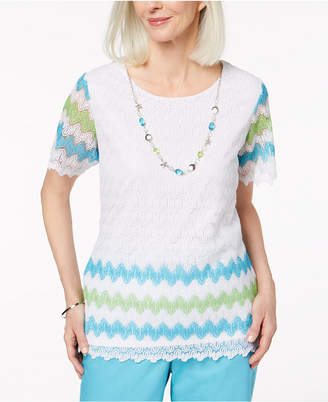 Alfred Dunner Lace Necklace Top