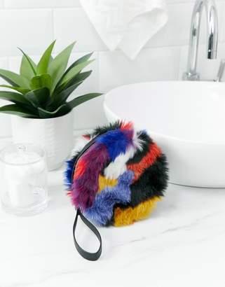 Monki faux fur multi colour mirror pouch