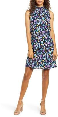 Gibson x City Safari Roselyn Weaver Smocked Mock Neck Dress