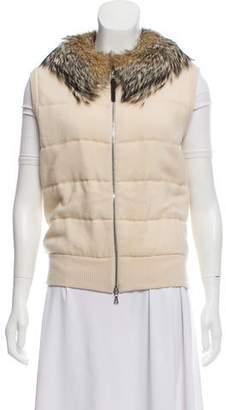 Prada Sport Fur-Trimmed Knit Vest