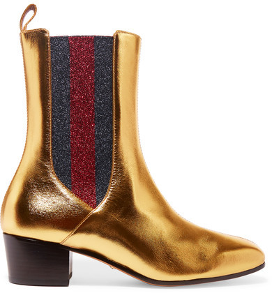 Gucci - Metallic Leather And Textured-lamé Chelsea Boots - Gold