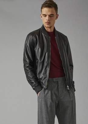 Giorgio Armani Reversible Bomber Jacket In Lambskin Nappa And Micro-Perforated Fabric