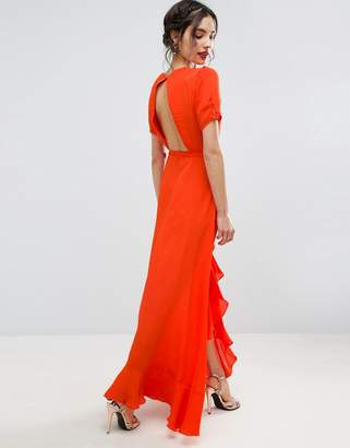 ASOS Tea Dress Maxi with Ruffle Detail and Open Back $72 thestylecure.com