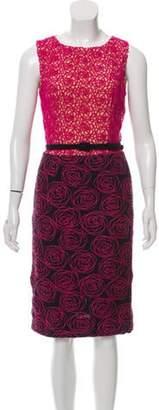 Oscar de la Renta Embroidered Lace Dress Pink Embroidered Lace Dress