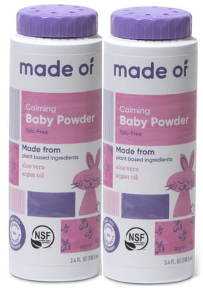 MADE OF 2-Pack Calming Organic Baby Powder