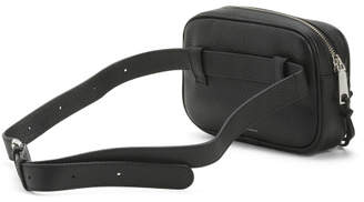 Leather 3 Zipper Pocket Belt Bag