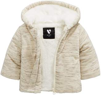 Mini V By Very Mini V by Very Baby Unisex Cosy Faux Fur Lined Jersey Jacket White