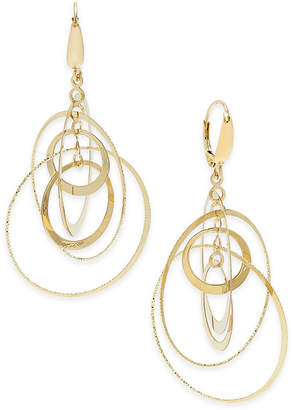 Italian Gold Multi-Circle Orbital Drop Earrings in 14k Gold