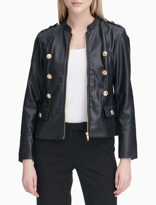 Calvin Klein Military Button-Front Faux Leather Jacket