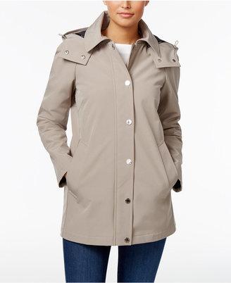 Calvin Klein Hooded A-Line Raincoat $180 thestylecure.com