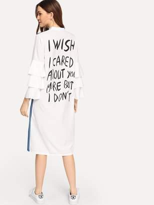 Shein Tiered Sleeve Spliced Chambray Slogan Dress