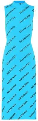 Balenciaga Allover Logo ribbed-knit wrap dress