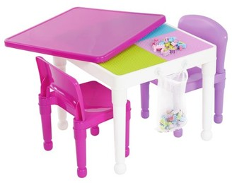 Building Block Tot Tutors 2-in-1 Kids Compatible Plastic Table and 2 Chair Set, White/Pink/Purple