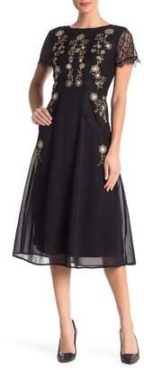 Nanette Lepore NANETTE Floral Embellished Midi Dress