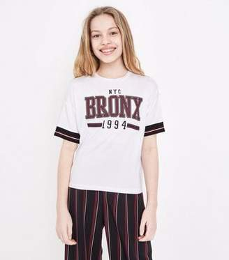 New Look Girls White NYC Bronx Tape Stripe Sleeve T-Shirt