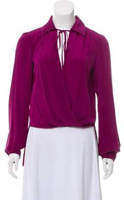 Prabal Gurung Collared Long Sleeve Top Purple Collared Long Sleeve Top