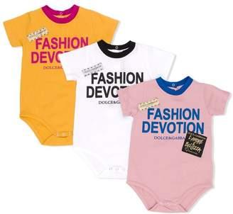 Dolce & Gabbana lettering logo rompers set