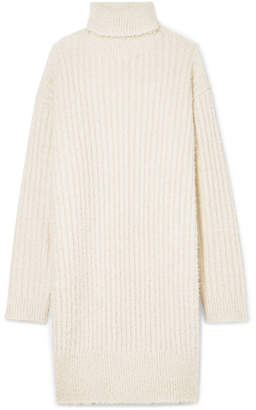 Givenchy Oversized Ribbed-knit Turtleneck Mini Dress - Ecru