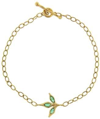 Cathy Waterman Three Leaf Emerald Chain Bracelet - Yellow Gold