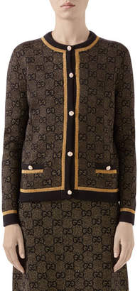 Gucci Shimmer GG Wool Cardigan