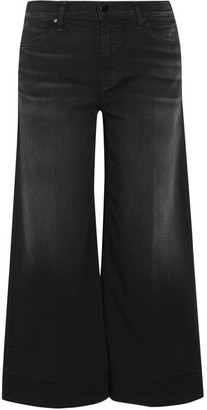 J Brand - Liza Cropped Mid-rise Wide-leg Jeans - Black $230 thestylecure.com