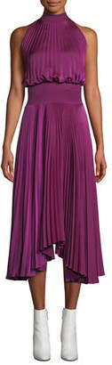 A.L.C. Renzo High-Neck Sleeveless Pleated Satin Midi Cocktail Dress