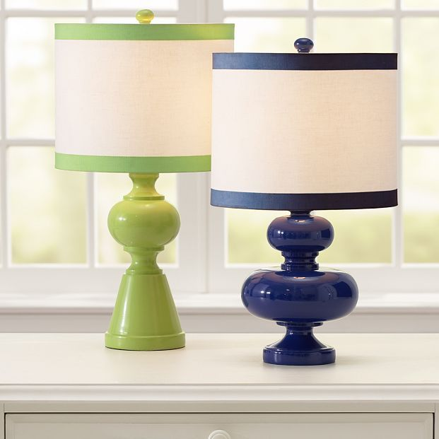 Geometric Lamp Base + Ribbon Trim Shade